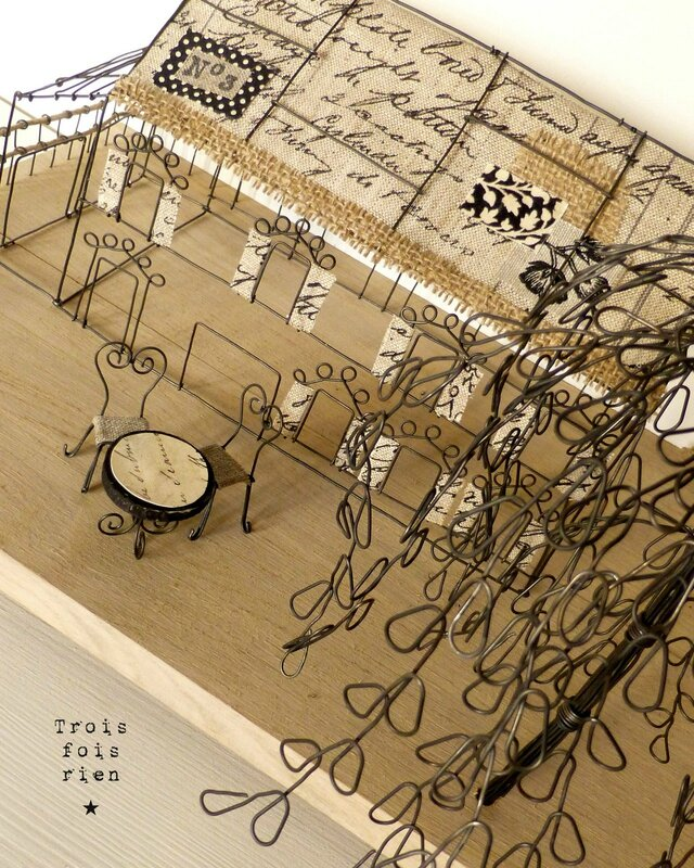 There is no place like home, wire art, fil de fer, wire, wire tree, wire house, wire church, trois fois rien 6