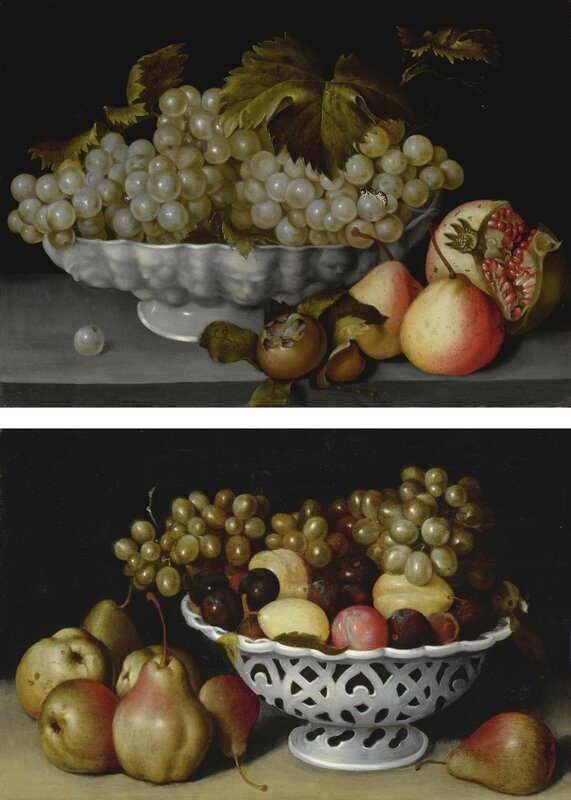 Fede Galizia, A Still Life of a Porcelain Bowl of Grapes on a Stone Ledge with a Medlar, Quinces, a Pomegranate and a Wasp; A Still Life of a Porcelain Basket of Plums and Grapes on a Stone Ledge with Pears