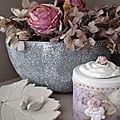 Creations en argile, hortensias seches, ange et amour