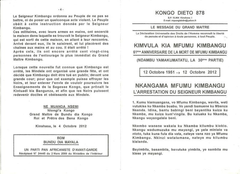 ARRESTATION DE MFUMU KIMBANGU a