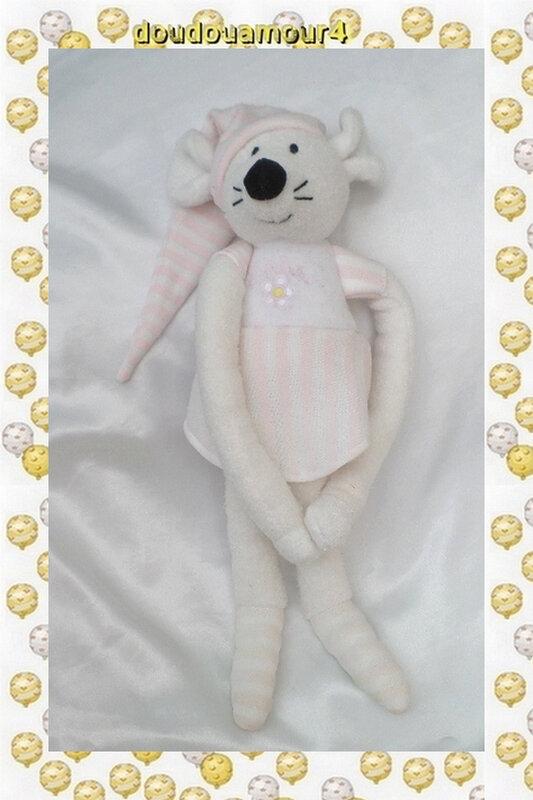 Doudou Peluche Souris Blanc Robe Rose Rayures Fleur Jemini Luminou 34 cm