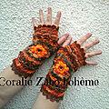 Mitaines hiver couleurs d'automne en laine disponible en promotion *boutique en ligne coraliezabo etsy