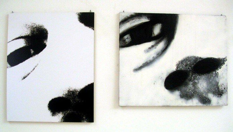 Huile et pigments sur toile/photo N&B sur medium; 2fois 50X60cm