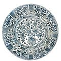 A monumental safavid blue and white dish, persia, 17th century