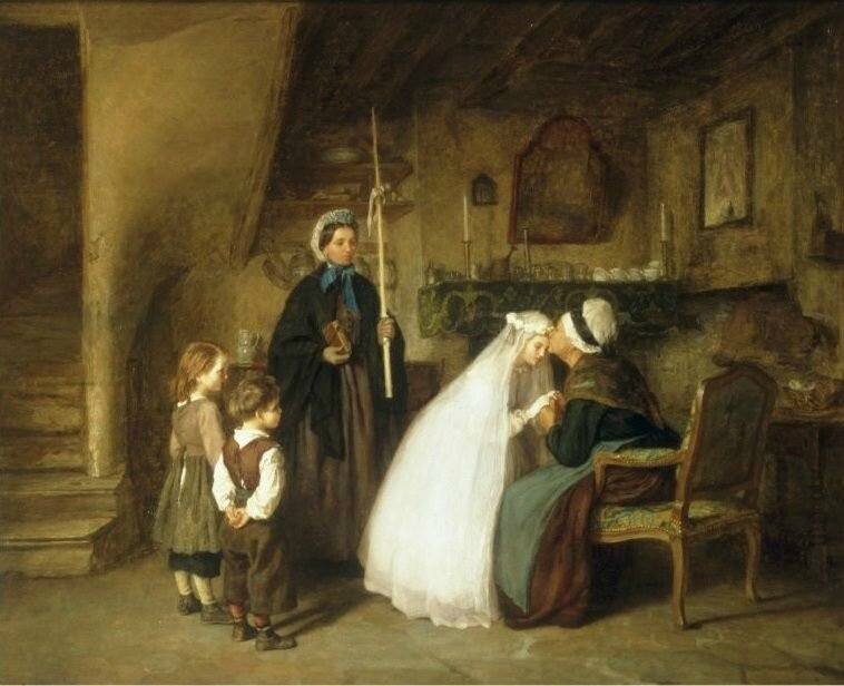 Frere Pierre Edouard (French, 1819 - 1886) «The First Communion» 1867