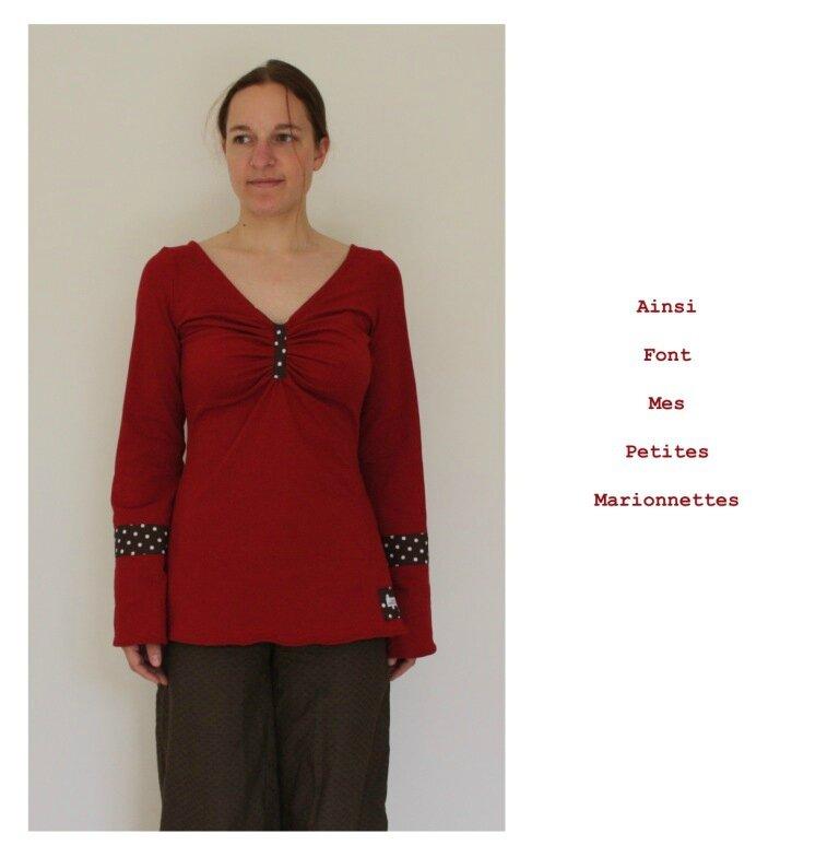 tunique jersey rouge marron pois 5