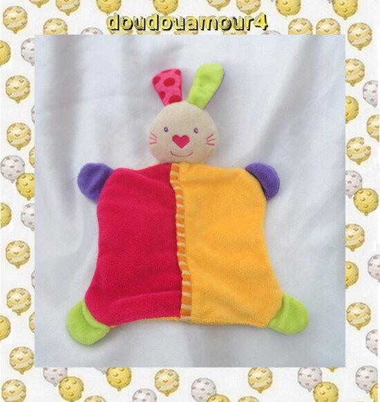 Doudou Plat Lapin Fushia Orange Vert Violet Truffe Coeur Dos Uni Baby Club C&A