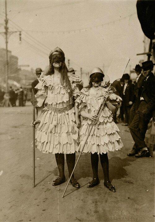 Children wearing Mardi Gras costumes in New Orleans, Louisiana
