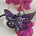Mixed media butterfly brooch