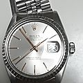 Retour de rocollection : rolex perpetual datejust 1601 lunette or gris diamètre 36mm