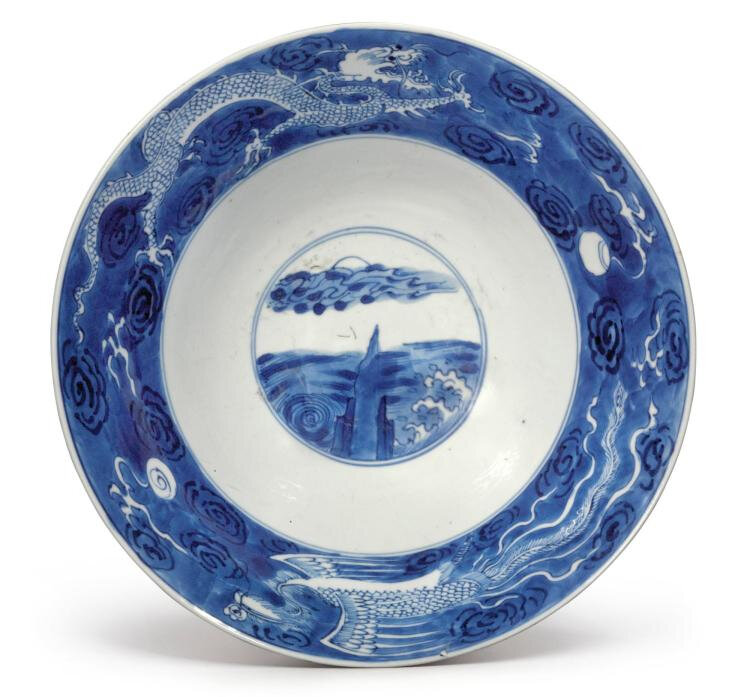 A blue and white 'Dragon and Phoenix' bowl, Qing dynasty, Kangxi period (1662-1722)
