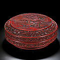 A very rare carved cinnabar lacquer circular box and cover, ming dynasty, hongwu period (1368-1398)