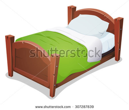 stock-vector-wood-bed-with-green-blanket-illustration-of-a-cartoon-wooden-children-bed-for-boys-and-girls-with-307287839