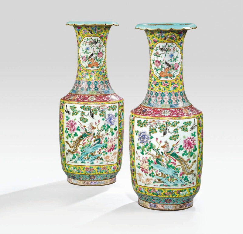 A large pair of famille rose 'phoenix' vases, Late Qing dynasty (1644-1911)