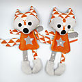 Doudou renard orange blanc gris