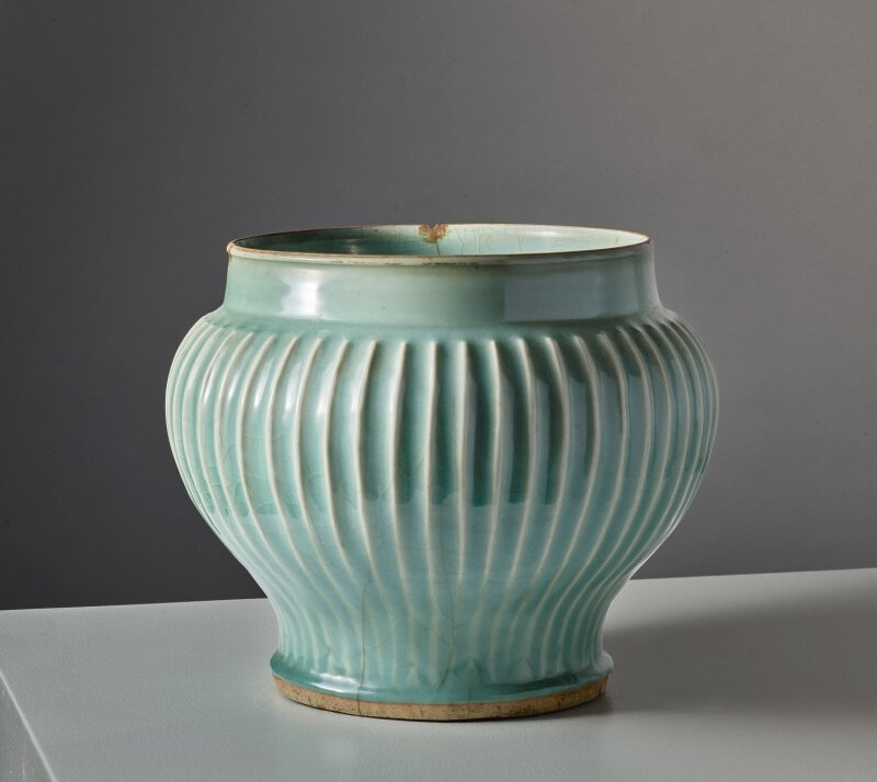 A large 'Longquan' celadon-glazed ribbed baluster jar, late Yuan-early Ming dynasty (1279-1644