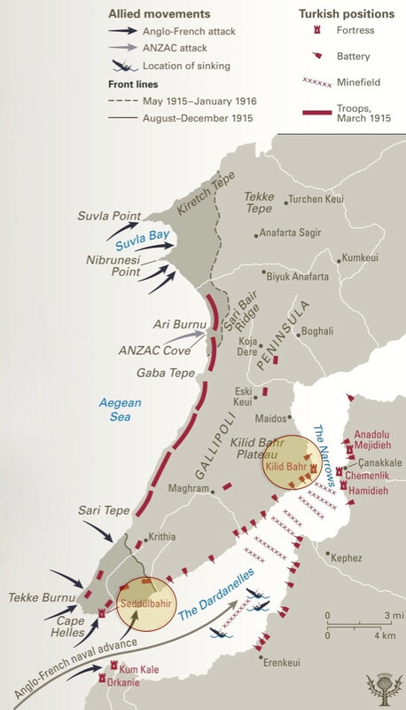 Gallipoli, fronts, carte en anglais, légendée