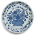 A blue and white polychrome-enameled 'flower basket' dish, wanli mark and period (1573-1619)
