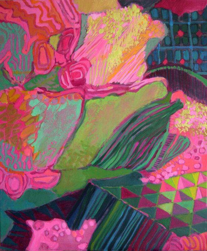 2007-Série Les Floralies-ROSE- huile-55x46cm