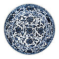 A blue and white 'flower scroll' dish, daoguang seal mark and period (1821-1850)