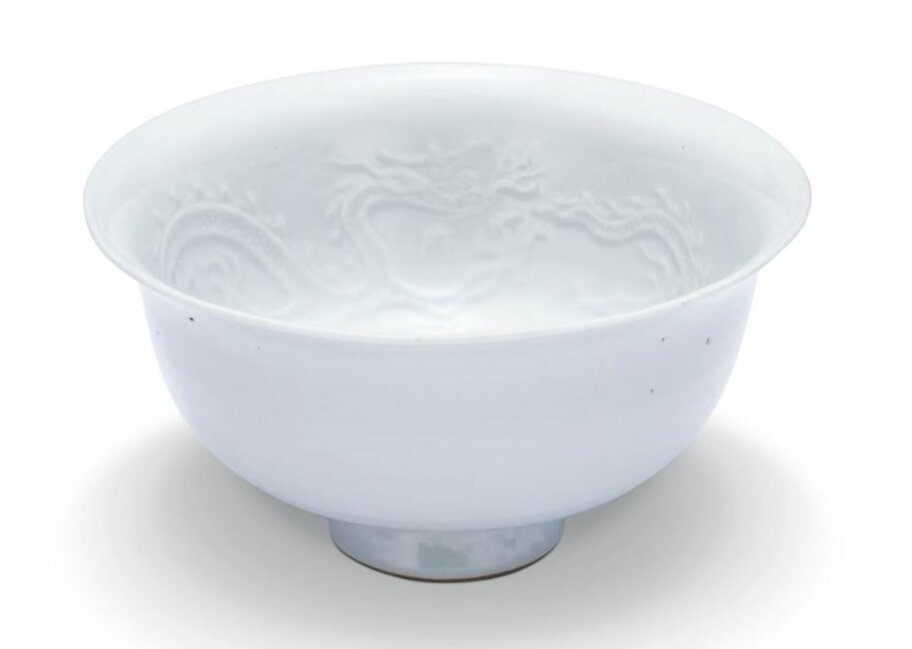 A 'Shufu' white-glazed 'dragon' bowl, Yuan dynasty