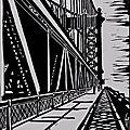 New-York - Manhattan bridge 1935 - Linogravure