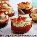 Petites coques de jambon aux crevettes