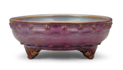 Purple-glazed 'Numbered two' Jun bulb bowl with drum-nail design, Song dynasty, 22