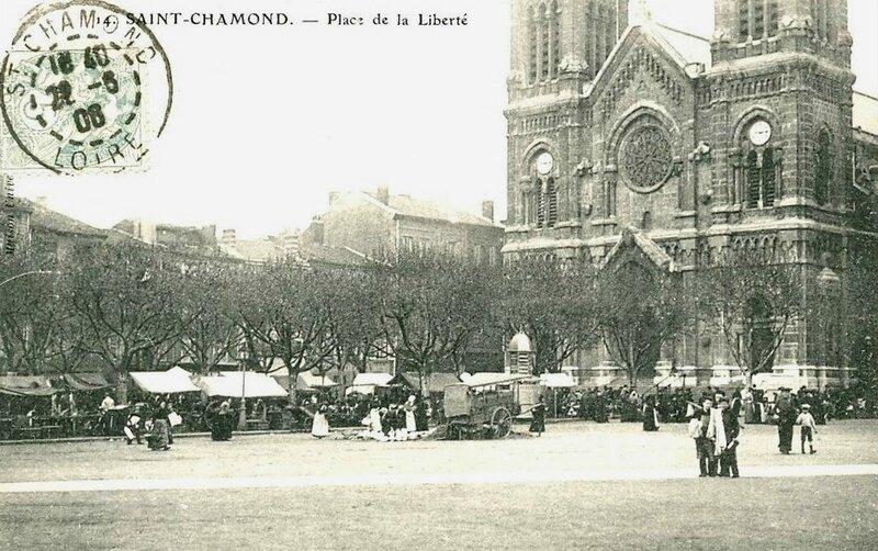 place de la Liberté marché postée en 1908