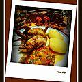 Cailles roties et fondue de poivrons/oignons