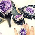 parure bijou et coiffure grande fleur faite main violet argent strass fêtes mariage soirée cereza deco 3