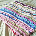 Cal as-we-go stripey blanket #1