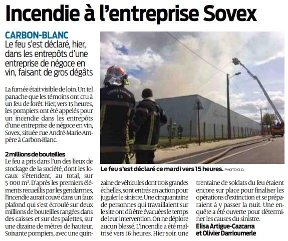 2019 04 17 SO Incendie à l'entreprise Sovex