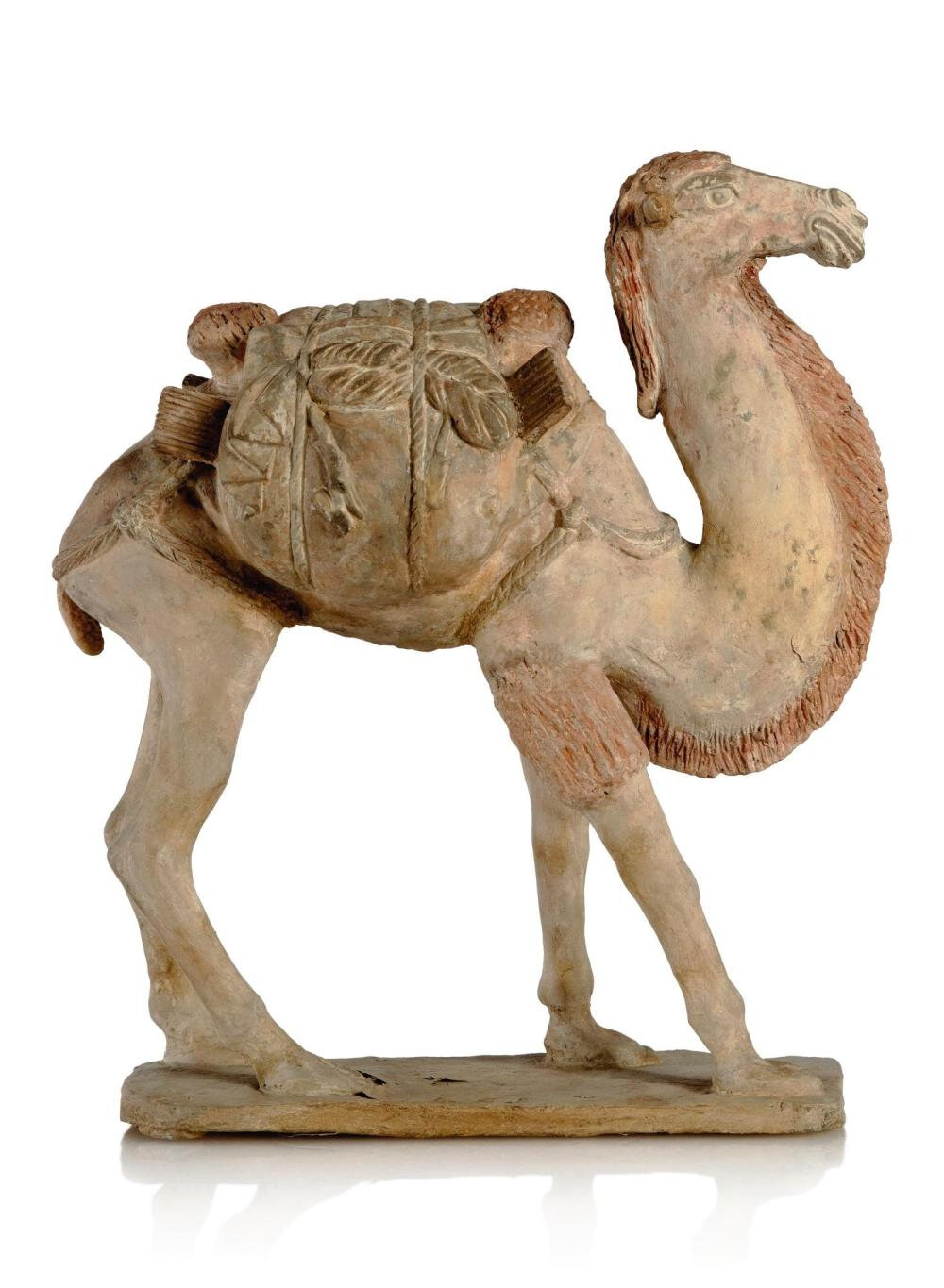 A Chinese painted pottery figureof a Bactrian camel, Tang dynasty (618-907)