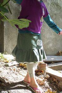 jupe-en-jean-vert