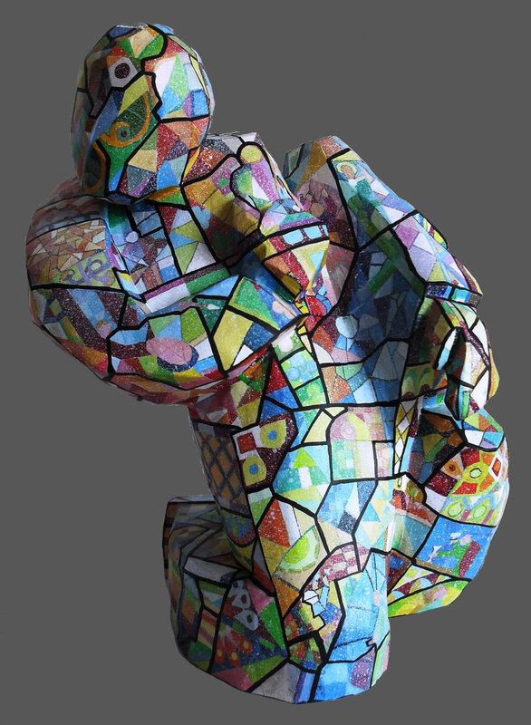 Hervé THAREL SCHMIMBLOCK'S vitro 2015 - acrylique sur argile 34x17cm 2détouré noir