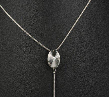 Pendentif avec 2 perles en strass de verre sur chaîne serpent très fine 11e