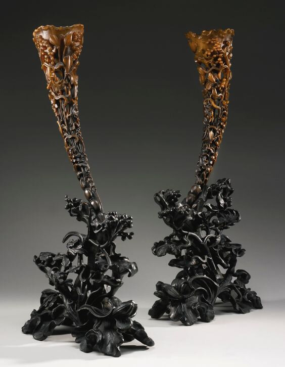 A Pair Of Large Carved Full-Tip Rhinoceros Horn Libation 'Lotus' Cups, Qing Dynasty, 19th Century