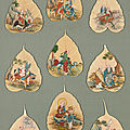 A mounted set of nine bodhi leaf paintings of luohan, qing dynasty, 19th century