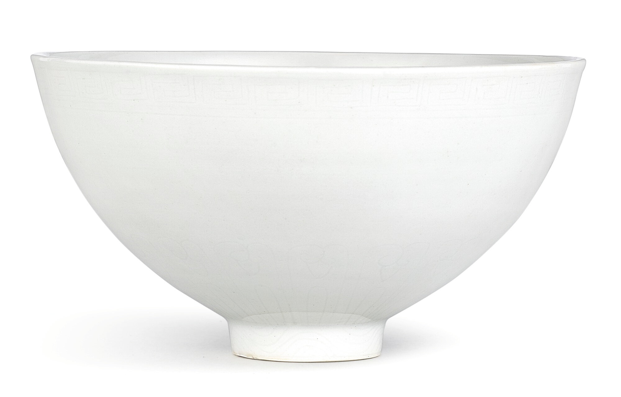 A rare incised and anhua-decorated 'sweet-white' glazed lianzi bowl, Ming dynasty, Yongle period (1403-1425)