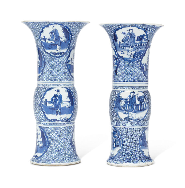 Two very similar blue and white beaker vases, Kangxi period (1662-1722)