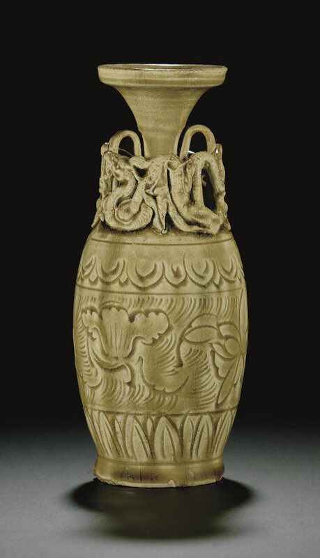 A very rare Yaozhou celadon carved vase, Northern Song dynasty, 11th century