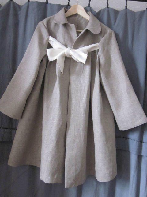 manteau d'été en lin brut noué d'un lien de lin ivoire - taille 44 (3)