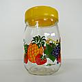 Vintage ... pot en verre décoré le parfait * les fruits
