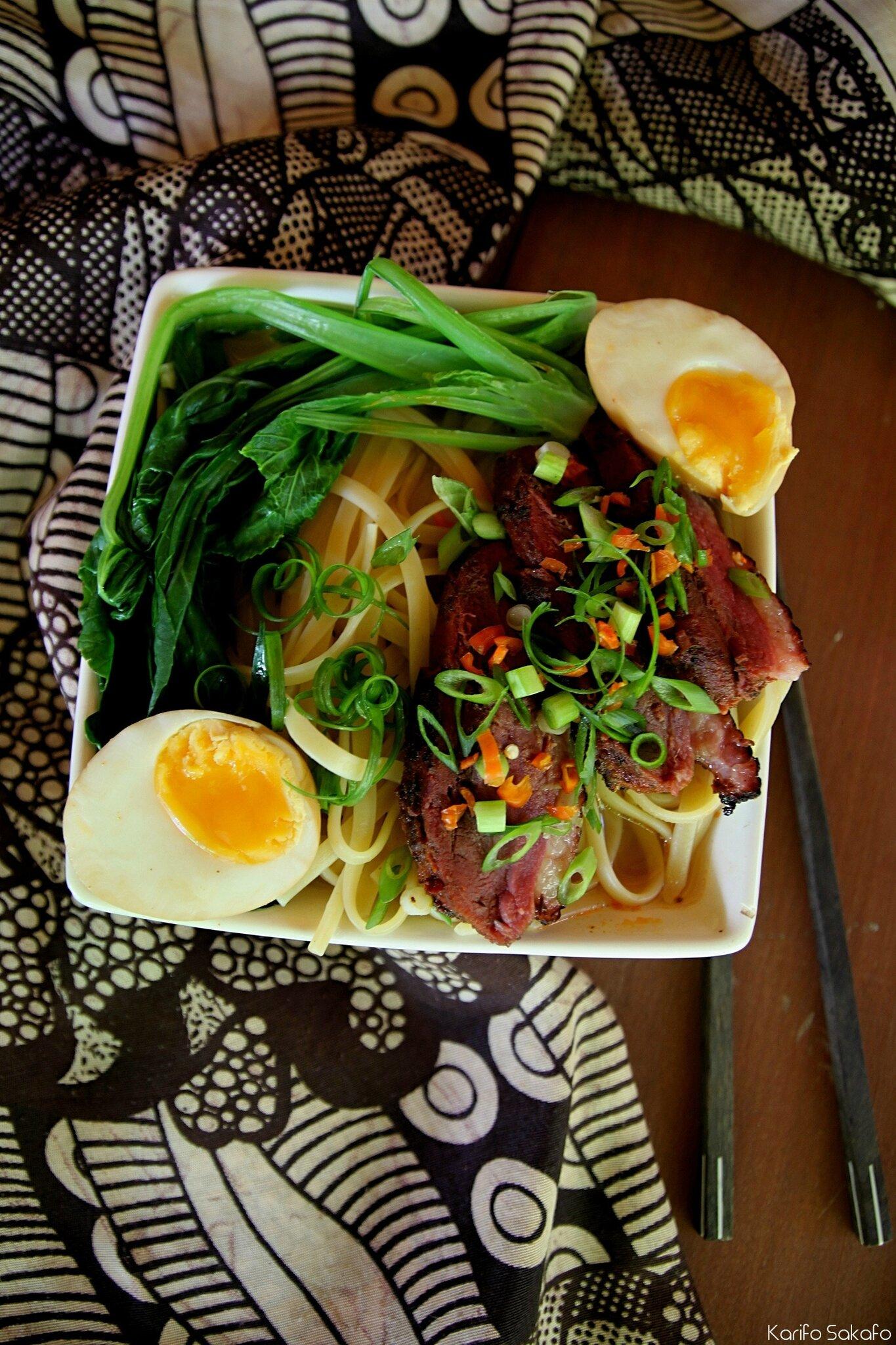 Soupe au canard façon ramen(avec les ingrédients du bord)