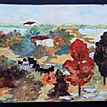 Paysage d'automne adulte Peinture aquarelle - Gamme couleurs chaudes