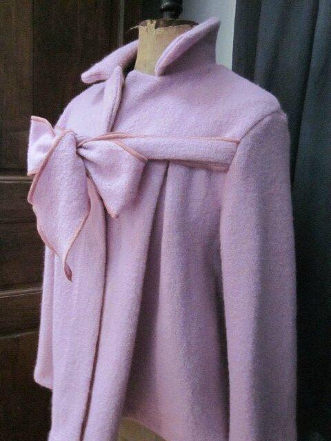 Manteau AGLAE court en laine bouillie rose-parme (5)