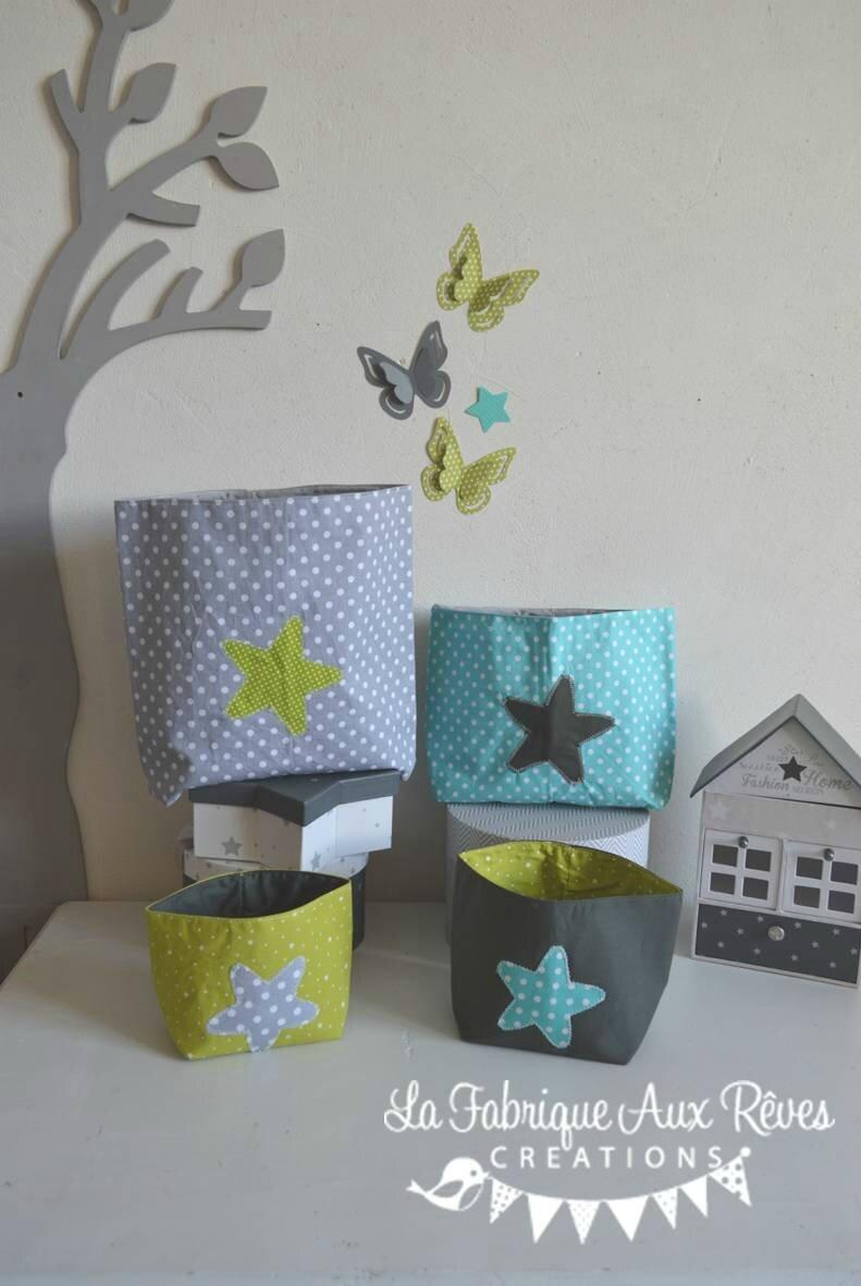 lot 4 pochons rangement étoiles anis turquoise gris blanc - décoration chambre bébé anis turquoise gris blanc hibou étoiles