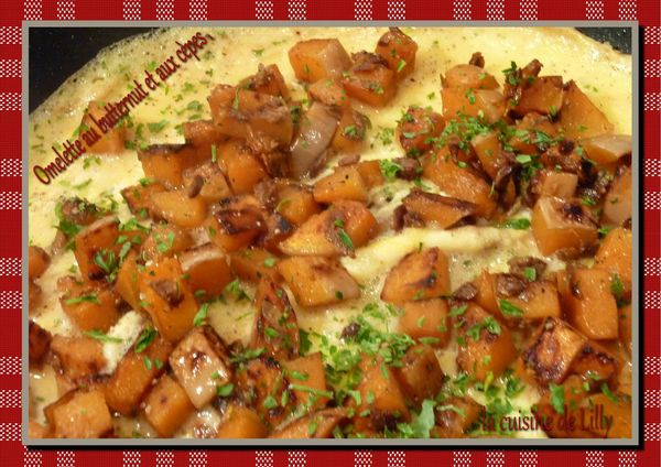 omelette au butternut et aux cèpes
