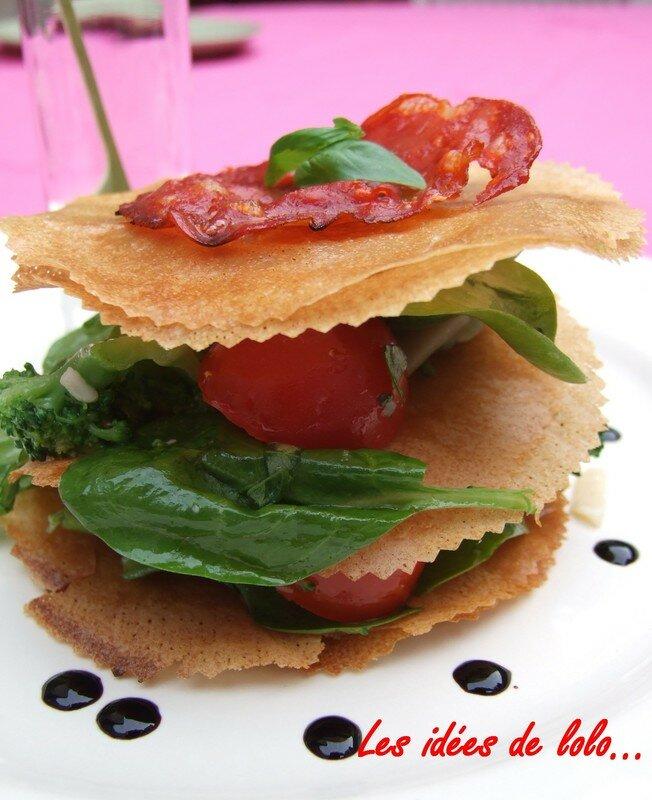 Mille-feuille legumes croquants et sucette tomate cerise au caramel et sésame 2